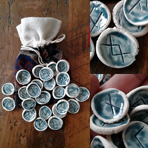 25 Piece Rune Stones Porcelain Viking Oracle Teal Nordic Scandinavian Rune of Odin