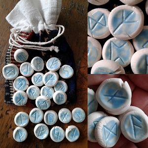 25 Piece Rune Stones Porcelain Viking Oracle Turquoise Nordic Scandinavian Rune of Odin