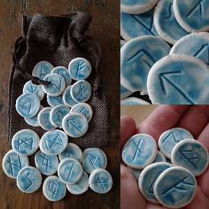 25 Piece Rune Stones Porcelain Viking Oracle Turquoise Nordic Scandinavian Rune of Odin  .2