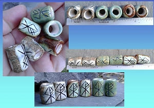 Set 6 Wolf Rune Macrame Beads Blue Bronze Green Ceramic Elder Futhark Norse Viking Dread Beads Beard Beads