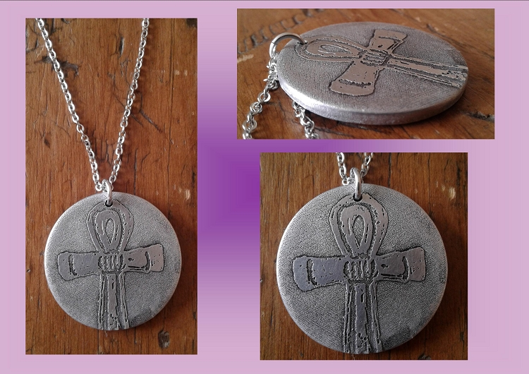 Ankh Necklace Metal Pendant Egyptian Pendant Etched Metal Disc