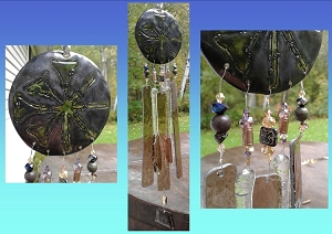 Anu Wind Chime Glass Ceramic Sumerian Mobile Pewter Green Bronze Garden Ornament