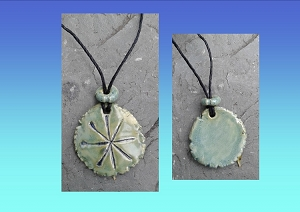 Anu Necklace Sumerian Pendant Green Ceramic Petroglyph Amulet Mesopotamia Sky Father