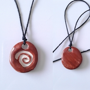 Spiral Aromatherapy Necklace Brick Red Ceramic Essential Oil Diffuser Pendant