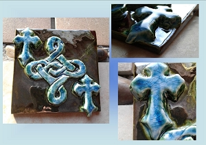 Celtic Knot Ceramic Decorative Irish Tile Metallic Burnished Gold Turquoise Green Wall Decor Celtic Cross Mosaic