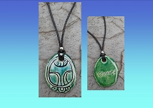 Mayan CHUWEN Necklace Turquoise Green Monkey Glyph Pendant Mesoamerican Ceramic Tzolk'in Day Sign Amulet