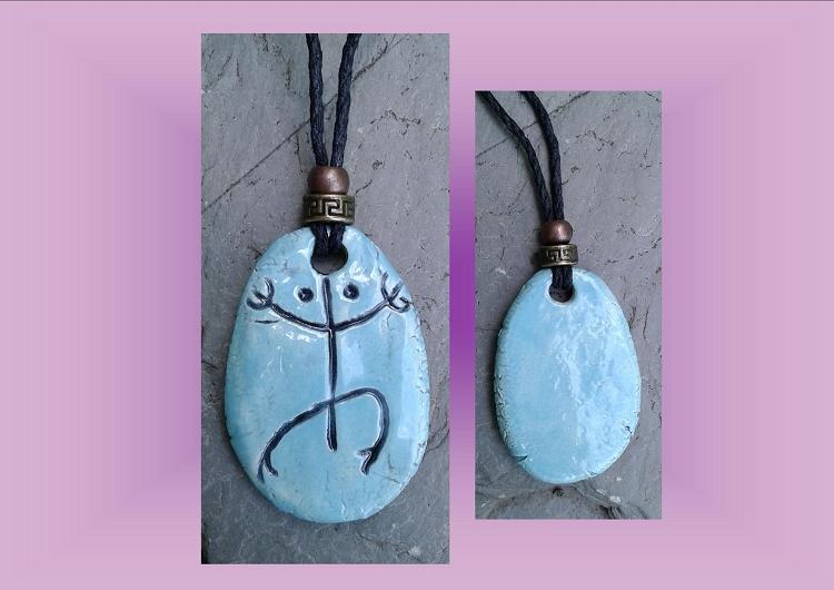 Taino Coqui Frog Necklace Turquoise Ceramic Arawak Pendant