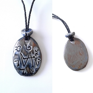 Archangel Gabriel Necklace Ceramic Blue Bronze Angel Pendant Sigil Enochian Amulet