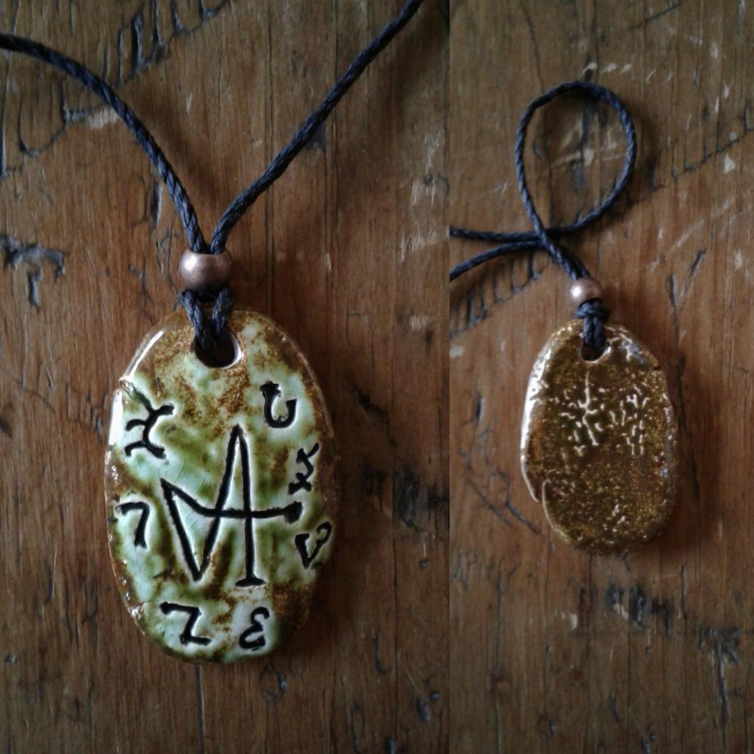 Archangel Gabriel Necklace Enochian Pendant Ceramic Green Moss Angel Amulet