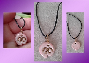 Horseshoes Necklace Gold Lustre & Pink Porcelain Pendant