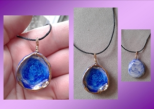 Sea Glass Necklace Gold Lustre & Blue Porcelain Ceramic Pendant Beach Jewelry