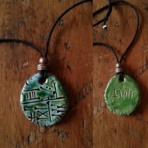 Cuneiform Goddess Necklace Sumerian Pendant Turquoise Green Ceramic  ILATI  Amulet