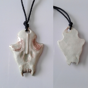 Wolf Skull Necklace Ceramic Viking Pendant Canine Amulet .2