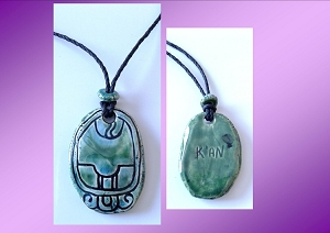 Mayan K'AN Necklace Mesoamerican Tzolk'in Day Sign MAIZE Glyph Ceramic Amulet Turquoise Green