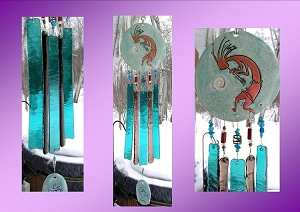 Kokopelli Glass Wind Chime Turquoise Copper Pottery Hopi Petroglyph Garden Ornament