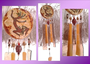 Kokopelli Glass Wind Chime Bronze Copper Pottery Hopi Petroglyph Garden Ornament
