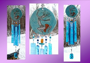 Kokopelli Glass Wind Chime Turquoise Silver Copper Pottery Hopi Petroglyph Garden Ornament