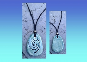 Koru Necklace Spiral Maori Pendant Ceramic Teal Fern Amulet New Life Growth Strength