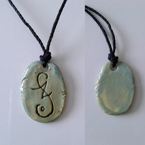 Lemurian Light Language Necklace Atlantean Pendant Ceramic Amulet Sea Green
