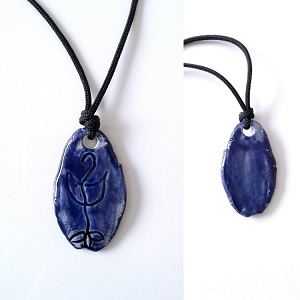 Lemurian Light Language Necklace Atlantean Pendant Ceramic Amulet Dark Blue