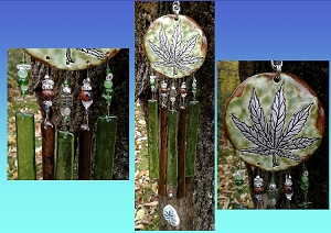 Marijuana Glass Wind Chime Silver Green Ceramic Pottery Garden Ornament