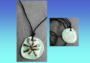 Marijuana Leaf Necklace Gold Lustre Green Ceramic Pendant Cannabis Amulet