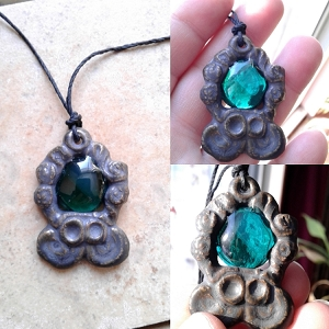 Mayan Necklace Teal Green Pendant Ceramic & Glass Mesoamerican Aztec Cenote Amulet