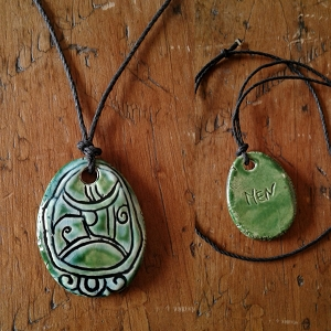 Mayan MEN Necklace Mesoamerican Tzolk'in Day Sign Crocodile Eagle Glyph Ceramic Amulet Turquoise Green
