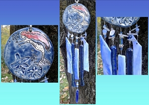 Mermaid Glass Wind Chime Blue Pottery Garden Ornament Sea Ocean Mobile