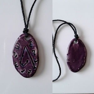 Archangel Metatron Necklace Ceramic Pendant Purple Sigal Enochian Amulet of Sacred Protection