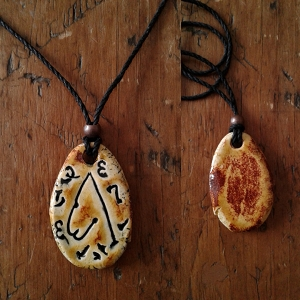 Archangel Metatron Necklace Ceramic Pendant Copper Sand Sigal Enochian Amulet of Sacred Protection