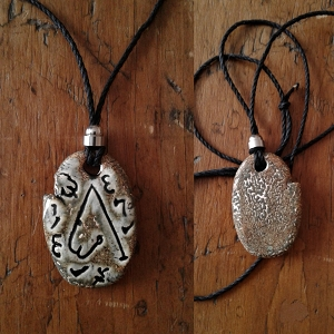 Archangel Metatron Necklace Ceramic Pendant Greystone Sigal Enochian Amulet of Sacred Protection