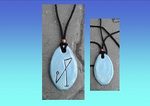 Archangel Michael Necklace Turquoise Angel Sigil Ceramic Pendant Sacred Protection Amulet