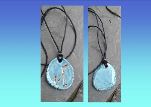 Archangel Michael Necklace Turquoise Gold Lustre Angel Sigil Ceramic Pendant Divine Protection