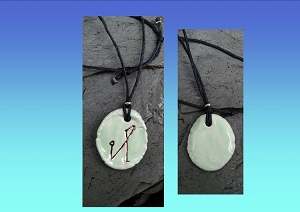 Archangel Michael Necklace Green Gold Lustre Angel Sigil Ceramic Pendant Divine Protection