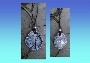 Archangel Michael Necklace Blue Angel Sigil Ceramic Pendant Sacred Protection Amulet