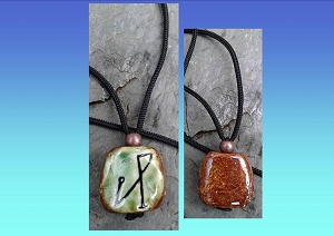 Archangel Michael Necklace Green Moss Angel Sigil Ceramic Pendant Sacred Protection Amulet