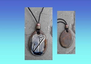 Archangel Michael Necklace Blue Bronze Angel Sigil Ceramic Pendant Sacred Protection Amulet