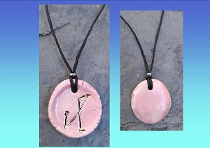 Archangel Michael Necklace Pink Gold Lustre Angel Sigil Ceramic Pendant Divine Protection