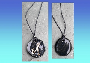 Archangel Michael Necklace Black Gold Lustre Angel Sigil Ceramic Pendant Divine Protection