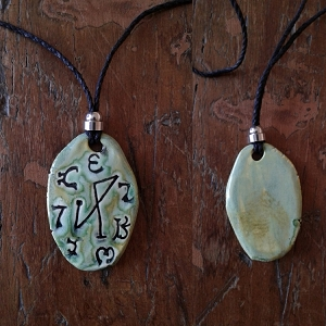Archangel Michael Necklace Ceramic Sea Green Angel Pendant Sigil Enochian Amulet
