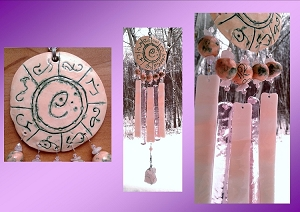 Atlantis Glass Wind Chime MU Pottery Chimes Copper Rose Pink Lemurian Sun Catcher