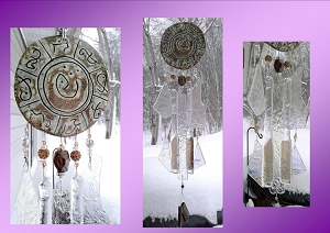 Atlantis Glass Wind Chime MU Pottery Chimes Sand & Crystal Lemurian Sun Catcher