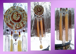 Atlantis Glass Wind Chime MU Pottery Chimes Copper Bronze Gold Lemurian Sun Catcher