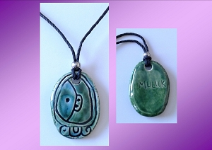 Mayan MULUK Necklace Mesoamerican Tzolk'in Day Sign WATER Glyph Ceramic Amulet Turquoise Green