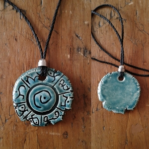 Lemurian Necklace Atlantean Pendant Ceramic Mu Amulet Teal Light Language