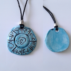 Lemurian Necklace Atlantean Pendant Ceramic Mu Amulet Turquoise Light Language