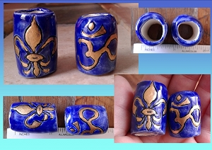 Set 2 Fleur de Lis & Om Macrame Beads Blue Gold Ceramic Large Hole 15mm Dread Beads