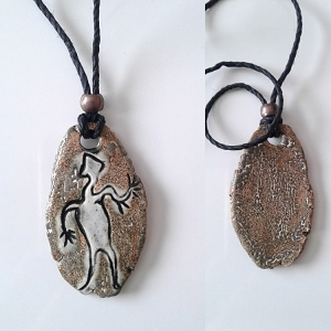 Petroglyph Necklace Ancient Symbol Pendant Ceramic Peterborough Native American
