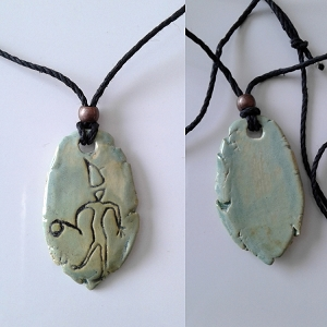 Petroglyph Necklace Ancient Symbol Pendant Ceramic Sea Green Peterborough Native American